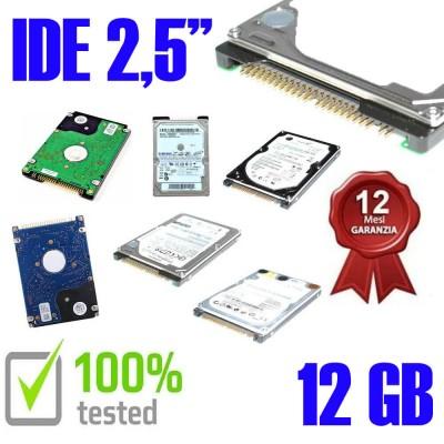 """Hard Disk Usato Ide  2,5"""" 12GB Testato 100% OK Funzionante 1 Anno Garanzia Varie Marche Vari Modelli"""