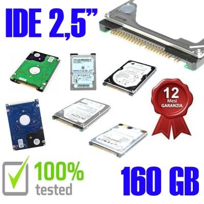 """Hard Disk Usato Ide  2,5"""" 160GB Testato Meno di 30 Ore di utilizzo Funzionante 1 Anno Garanzia Varie Marche Vari Modelli"""